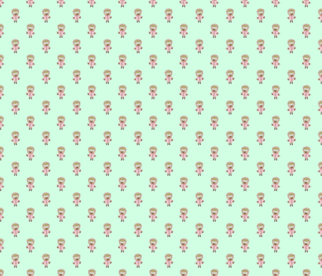 Hedgehog Forest Friends All-Over Repeat Pattern on Mint Green  fabric by paper_and_frill on Spoonflower - custom fabric