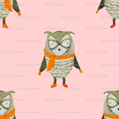 Owl Forest Friends All-Over Repeat Pattern in Baby Pink