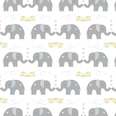 Elephant Kisses on White fabric by jenniferfranklin on Spoonflower - custom fabric