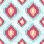 Blue, Pink and Peach Ikat