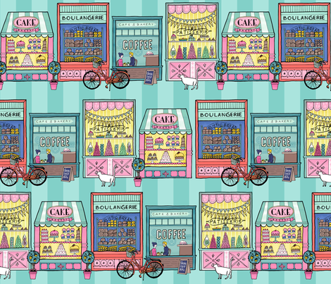 Sweet Windows in Teal fabric by pinkowlet on Spoonflower - custom fabric