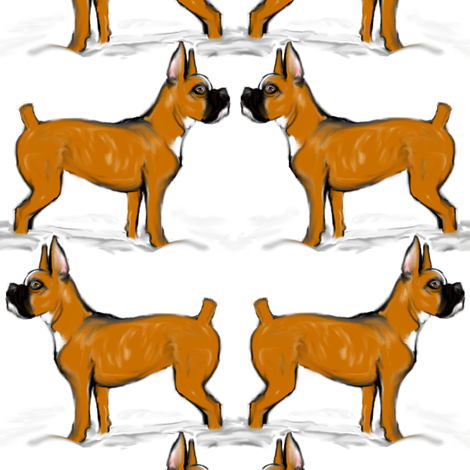 Boxer Dogs in Snow fabric by eclectic_house on Spoonflower - custom fabric