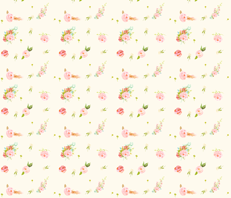 Sweet Flowers Ivory Color fabric by shopcabin on Spoonflower - custom fabric