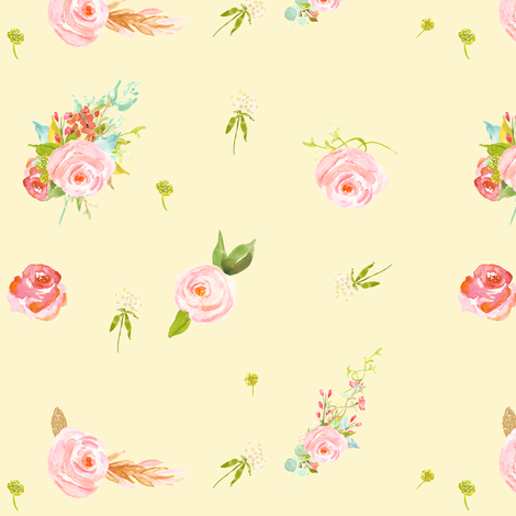 Sweet Florals in Yellow fabric by shopcabin on Spoonflower - custom fabric