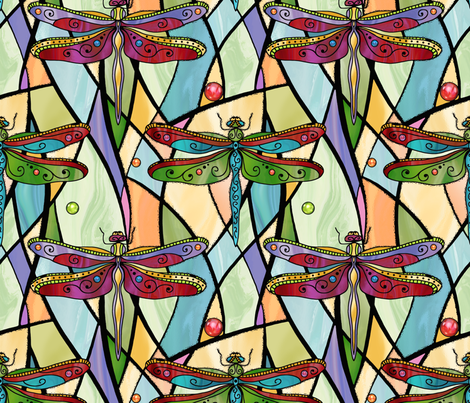 Dragonflies on stained glass windows fabric by designed_by_debby on Spoonflower - custom fabric