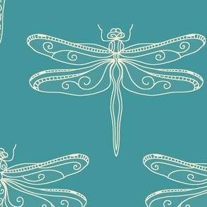 dragonfly rows - aqua