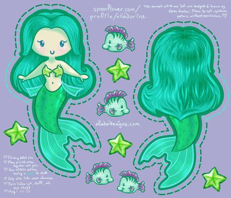 Mermaid Cut & Sew Doll fabric by elladorine on Spoonflower - custom fabric