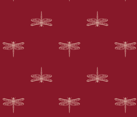 dragonfly rows - brick red fabric by designed_by_debby on Spoonflower - custom fabric