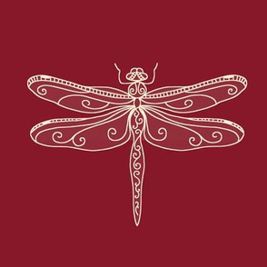 dragonfly rows - brick red