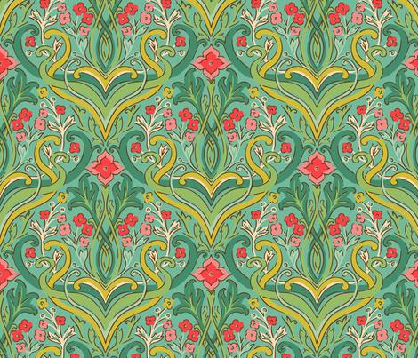 julie_lamb_art_nouveau_green fabric by julielamb on Spoonflower - custom fabric