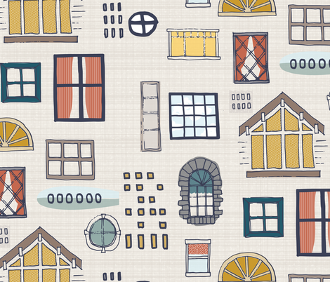 Mid Century Sketch Windows fabric by mrshervi on Spoonflower - custom fabric