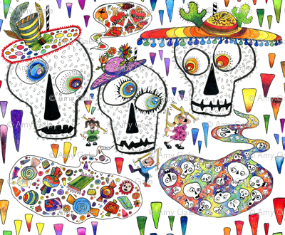 Day of the Dead Sugar Skull Pinatas, large scale, rainbow white