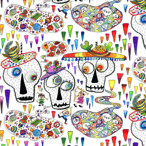 Day of the Dead Sugar Skull Pinatas, large scale, rainbow white fabric by amy_g on Spoonflower - custom fabric