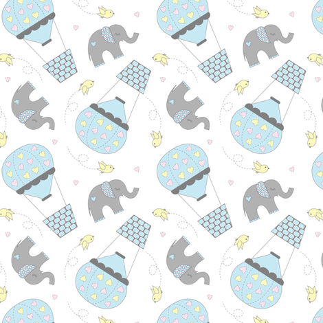 Elephants and Hot Air Balloons Blue fabric by jenniferfranklin on Spoonflower - custom fabric