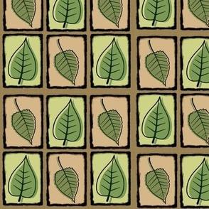 Mid century leaves on trellis