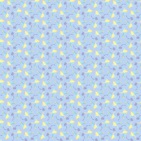 Bright Poliwogs -- on blue fabric by bargello_stripes on Spoonflower - custom fabric