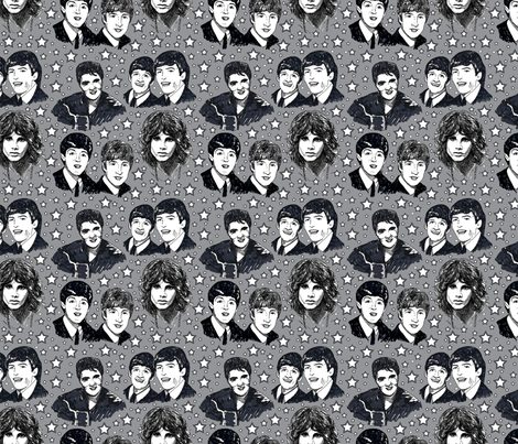 Rock_and_Roll_sketches_gray fabric by leroyj on Spoonflower - custom fabric