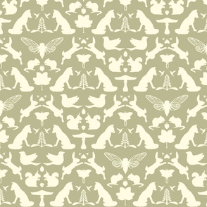 woodland damask cream on moss