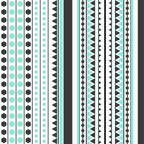 Mint Grey Geometric Dance