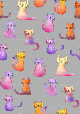Lots of Little Watercolor Kitties on Grey