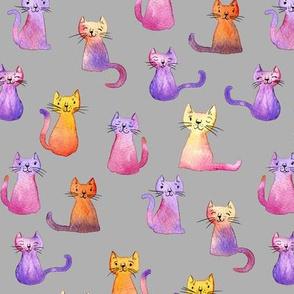Lots of Little Watercolor Kitties on Grey