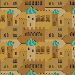 the thousand and one windows (brown-mint)