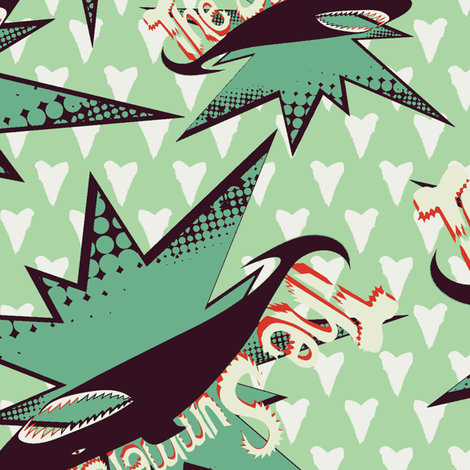The Summer shark on green fabric by susiprint on Spoonflower - custom fabric