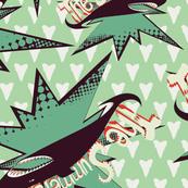 The Summer shark on green
