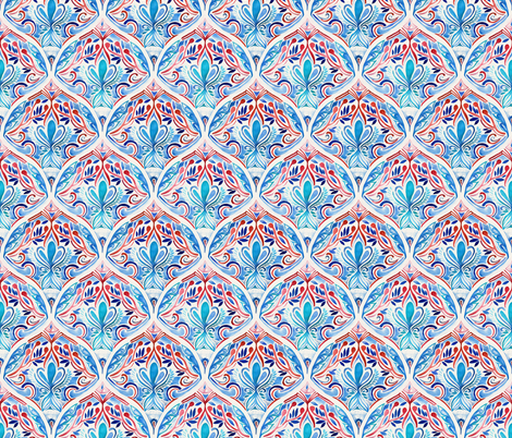 Deco Scales in Red, Blue and Cream fabric by micklyn on Spoonflower - custom fabric
