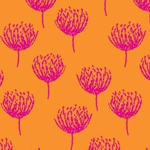 Pink Blooms on Orange