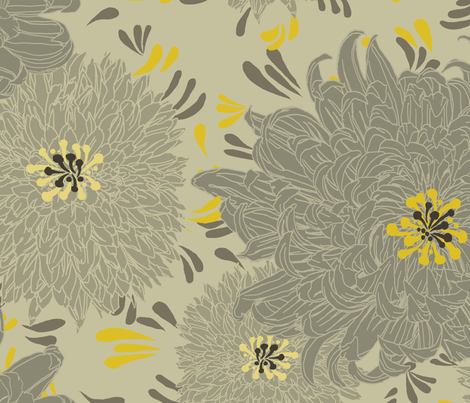 Chrysanthemums III fabric by mindlessmermaid on Spoonflower - custom fabric