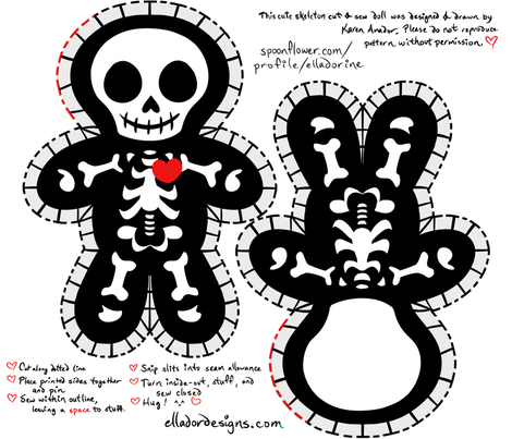Cute Skeleton Cut & Sew Doll fabric by elladorine on Spoonflower - custom fabric