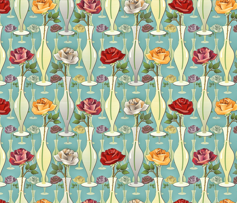 antiqued roses in vases fabric by hannafate on Spoonflower - custom fabric
