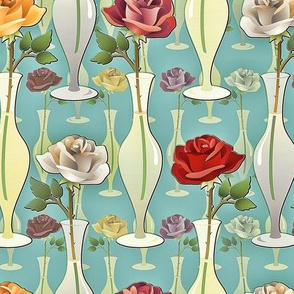 antiqued roses in vases