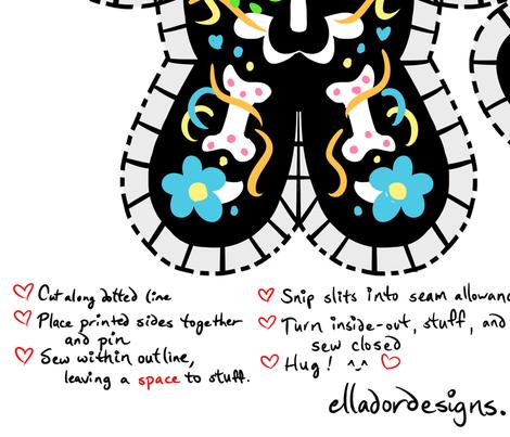 Cute Dia de los Muertos Skeleton Cut & Sew Pillow fabric by elladorine on Spoonflower - custom fabric