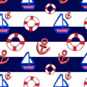 Navy stripe with anchor sail and rubber tube