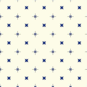Tiny Blue and Grey Stars on Cream