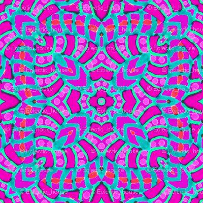 Pink Batik Kaleidoscope Stripes