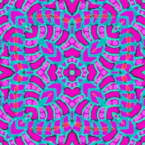 Pink Batik Kaleidoscope Stripes