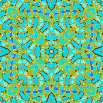 Aqua Batik Kaleidoscope Stripes