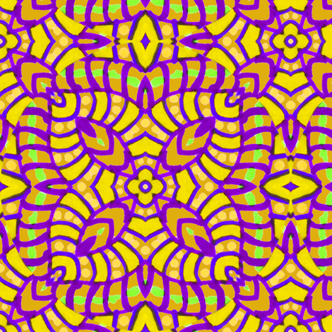 Yellow and Purple Batik Kaleidoscope_Stripes fabric by eclectic_house on Spoonflower - custom fabric