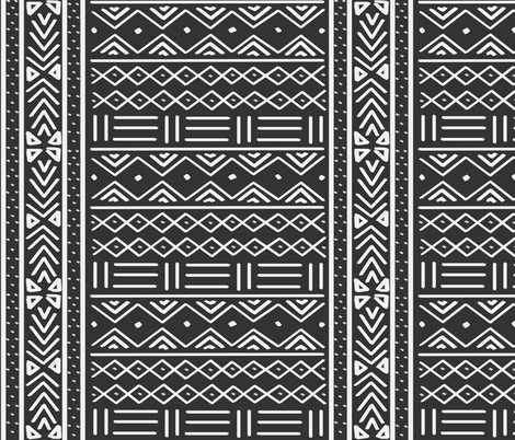 Charcoal Grey African Mudcloth fabric by thestylesafari on Spoonflower - custom fabric