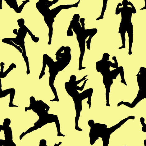 Muay Thai on Yellow // Small fabric by thinlinetextiles on Spoonflower - custom fabric