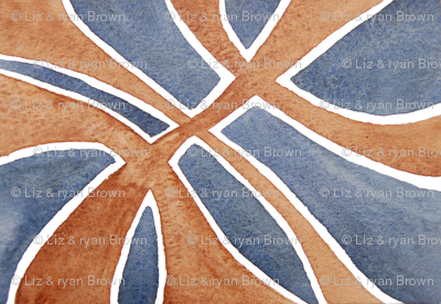 Deep Blue and Rust Watercolor Symmetry