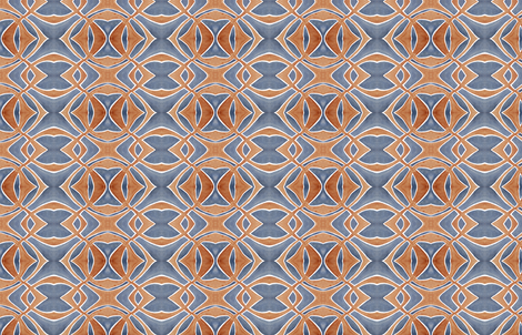 Deep Blue and Rust Watercolor Symmetry fabric by thinlinetextiles on Spoonflower - custom fabric