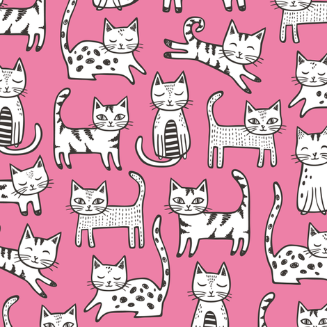 Cats Black&White with Stripes Dark Pink fabric by caja_design on Spoonflower - custom fabric