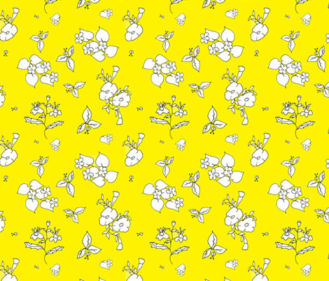 Yellow Flower Garden fabric by elodielane on Spoonflower - custom fabric
