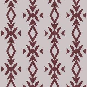 Vertical Stripe of Floral & Diamond Elements in Maroon