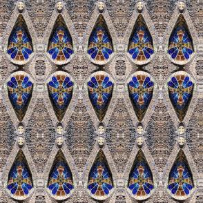 church-colonia-guell mosaic mirrored