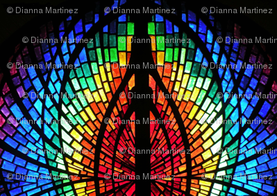 stained glass mirrored wings